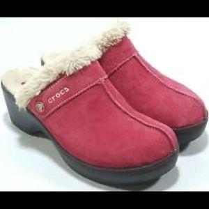 Details about Crocs pink Suede Brown Heel Cobbler